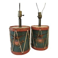 1940's Handmade Drum Lamps