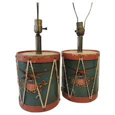1940's Handmade Drum Lamps