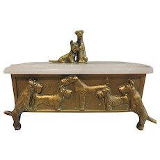 Art Deco Gilt Bronze and Marble Terrier Box