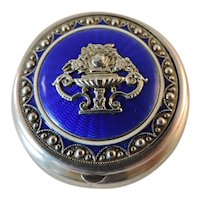 Beautiful 19th century Austrian 800 silver and enamel pill box patch box compact