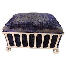 English EPNS and Purple Velvet Sewing Box Pin Cushion