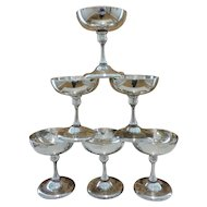 RARE set of 6 Krupp BMF Silver Plated Coupe Champagne Glasses