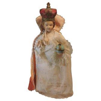 Beautiful L'Enfant Prague - Infant of Prague - Antique Chalkware Statue with original Handmade Clothes - French, Circa 1900