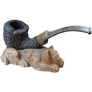 """Vintage Brebbia """"Dune Buggy"""" Applewood Pipe with Syrocowood Dog Pipe Rest"""