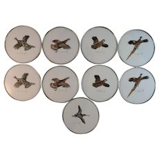 Set of 9 Cyril Gorainoff Hand Painted Milk Glass and Sterling Silver Waterfowl Coasters