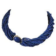 Lapis Lazuli 16 Strand Necklace with 14k Yellow Gold Clasp
