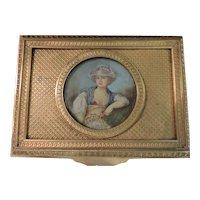 French Gilt Bronze Dresser Box with Watercolor Portrait
