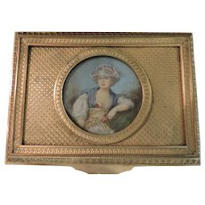 French Gilt Bronze Dresser Box with Watercolor Portrait