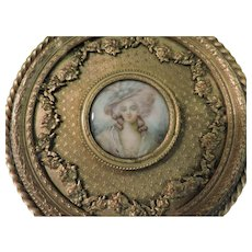 Late 18th or early 19th C. French Gilt Bronze Portrait Dresser Box