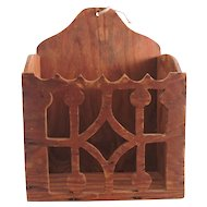 Hand Made Folk Art Hanging Box with Hand Cut Fretwork