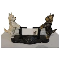 Unique Cast Iron Scottie Card Holder Circa 1940's