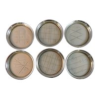 Set of 6 Webster Sterling Silver and Hand Cut Glass Coasters