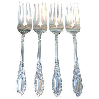Set of 4 Manchester Sterling Silver Gadroonette Salad Forks - 1938