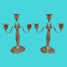 Spectacular Pair of Persian 84 Silver 3 Light Candelabrum - Made Between 1907-1917