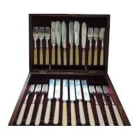 Early 1900's Breakfast/Luncheon Flatware Set - Sterling, Silver Plate, Stainless & Celluloid