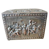 Vintage 1930's - 40's A.T.Cross (Mark Cross) Repousse Silver-plate Cigarette Box or Dispenser made in London
