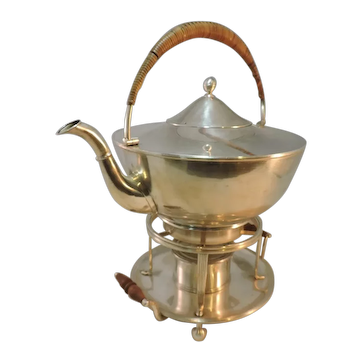 Unusual Art Deco/Arts and Crafts Tea Pot on Warming Stand