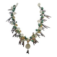 Spectacular Handmade Necklace of Pearls, Malachite, Peridot, Citrine, Quartz, 14K GF