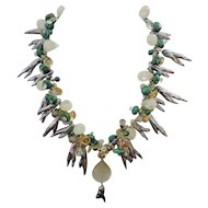 Spectacular Handmade Necklace of Pearls, Malachite, Peridot, Citrine, Quartz, 14K GF