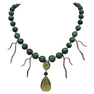 One-Of-A-Kind! Handmade Malachite Necklace with Lemon Quartz, Citrine and Sterling Silver