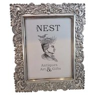 Hand Chased Sterling Silver Repousse Frame - 11 x 13 - Hand Cut Wood Back