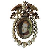 Vintage Signed Florenza Portrait Pin Brooch or Frame Combo - Mid 1960's