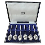 Set of 6 Sterling Silver Demitasse Spoons, Collins & Cook for Harrods, Birmingham 1965