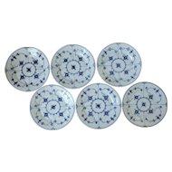 Set of 6 PRE 1900 Royal Copenhagen Blue Fluted Plates
