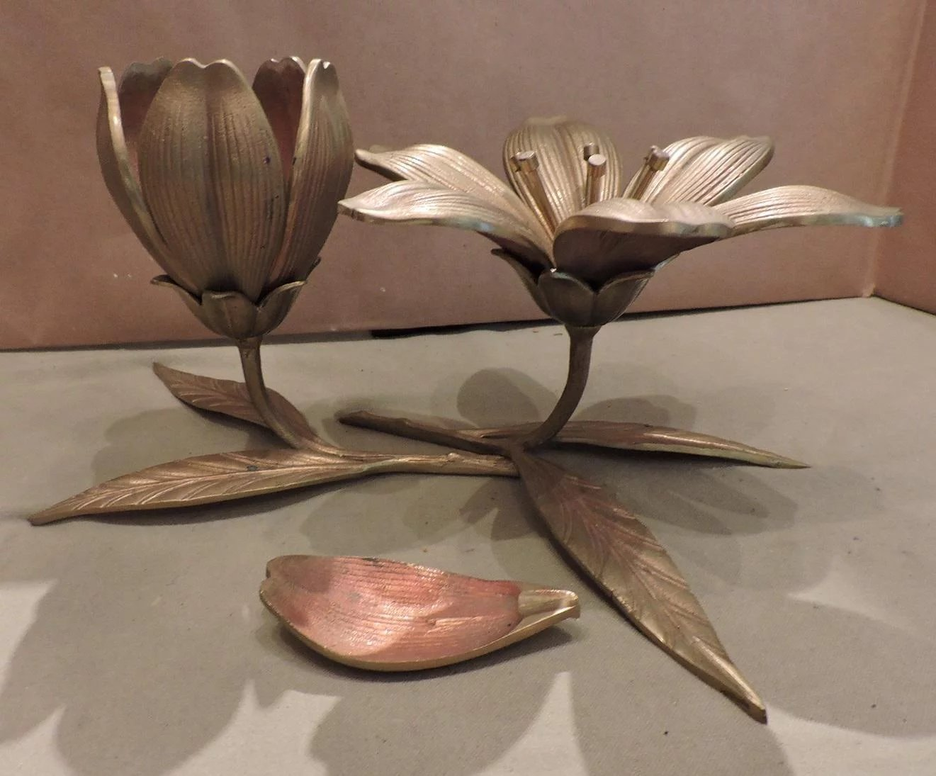 Mid century brass floral centerpieces individual ashtrays nest click to expand izmirmasajfo