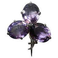 Edwardian amethyst shamrock brooch in white metal testing as silver