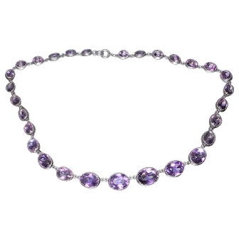 Edwardian white metal (Sterling) amethyst necklace.