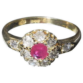 Edwardian ruby and diamond cluster ring 18ct gold