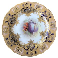 Royal Worcester fruit painted dessert plate.c1915 G H Cole