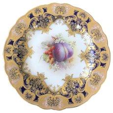 Royal Worcester fruit painted dessert plate.c1915 G H Cole