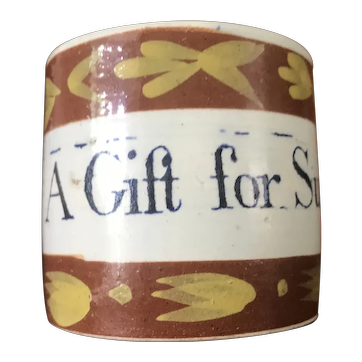 "19th Century Staffordshire child's mug ""A gift for Susan"" c1800/10"