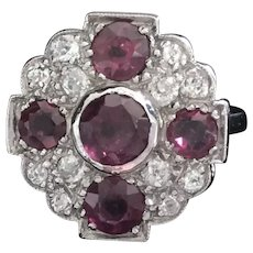 Edwardian  platinum ruby and diamond cluster ring c1910