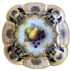 Royal Worcester fruit painted dessert dish c1915