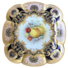 Royal Worcester fruit painted dessert dish c1915 H.Martin