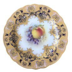 Royal Worcester fruit painted dessert plate.c1913 G H Cole