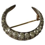 Diamond  Gold crescent brooch c1900