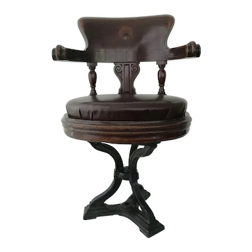 19th Century mahogany / cast iron captains chair c1860
