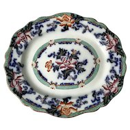 Antique Staffordshire flow blue/polychrome platter Charles Meigh.c1850/60