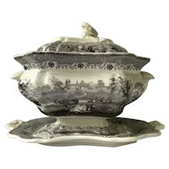Antique Staffordshire black/mulberry transferware soup tureen c1840