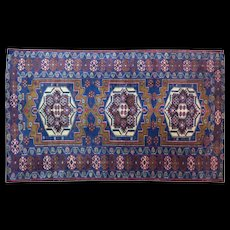 AUTHENTIC VINTAGE HAND KNOTTED SILK PERSIAN CARPET. CIRCA 1945