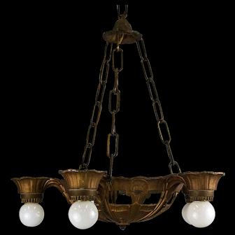 1930's Deco Bare Bulb Five Light Pendant