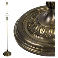 Vintage Brass and Mixed Metal Floor Lamp with Decorative Foliate Center