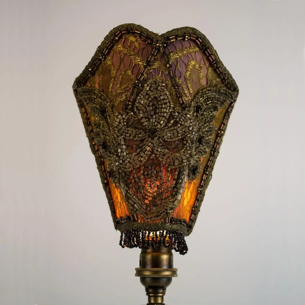Vintage Hand Beaded Silk And Lace Shade Table Lamp Table