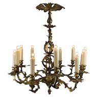 Late 1900's French Louis XV Style Brass 12 Light Chandelier