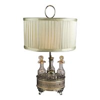 Sheffield Silver Plate and Cut Crystal Cruet Table Lamp