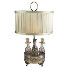 Sheffield Silver Plate and Cut Crystal Cruet Table Lamp